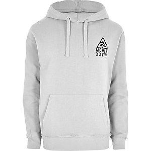 Light grey flocked logo oversized hoodie