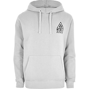 Light grey flocked logo oversized hoodie