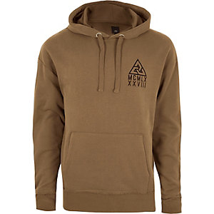Sweat à capuche marron clair oversize