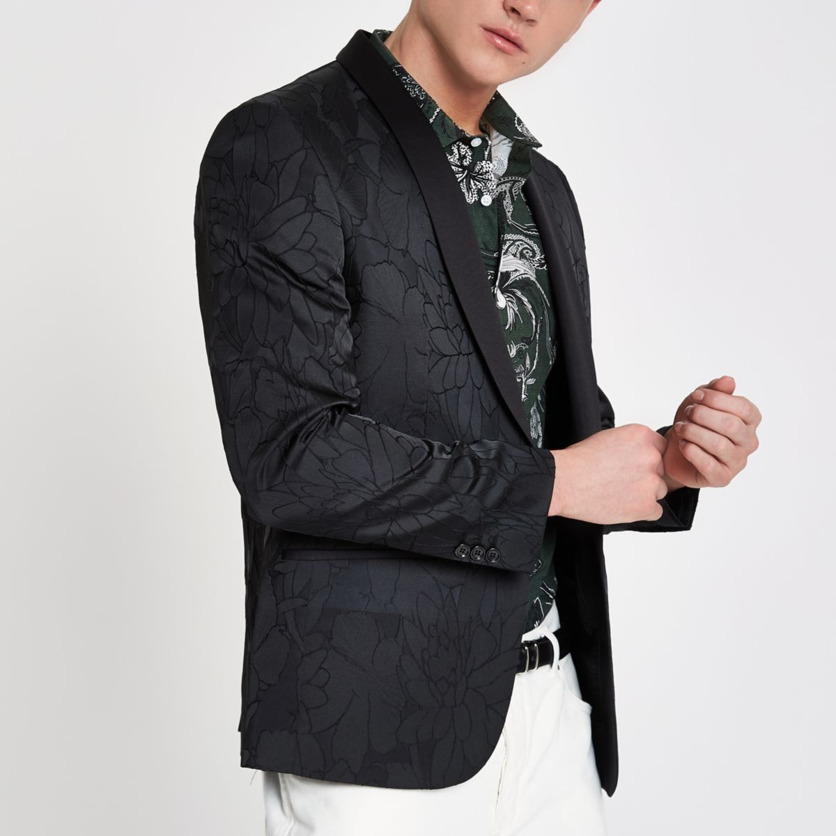 Black textured floral skinny fit blazer