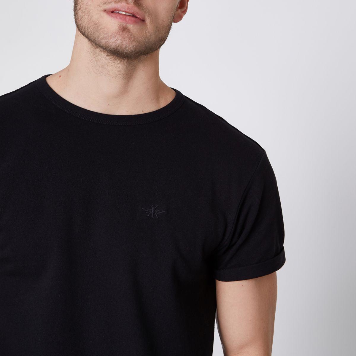 Black pique muscle fit crew neck T-shirt