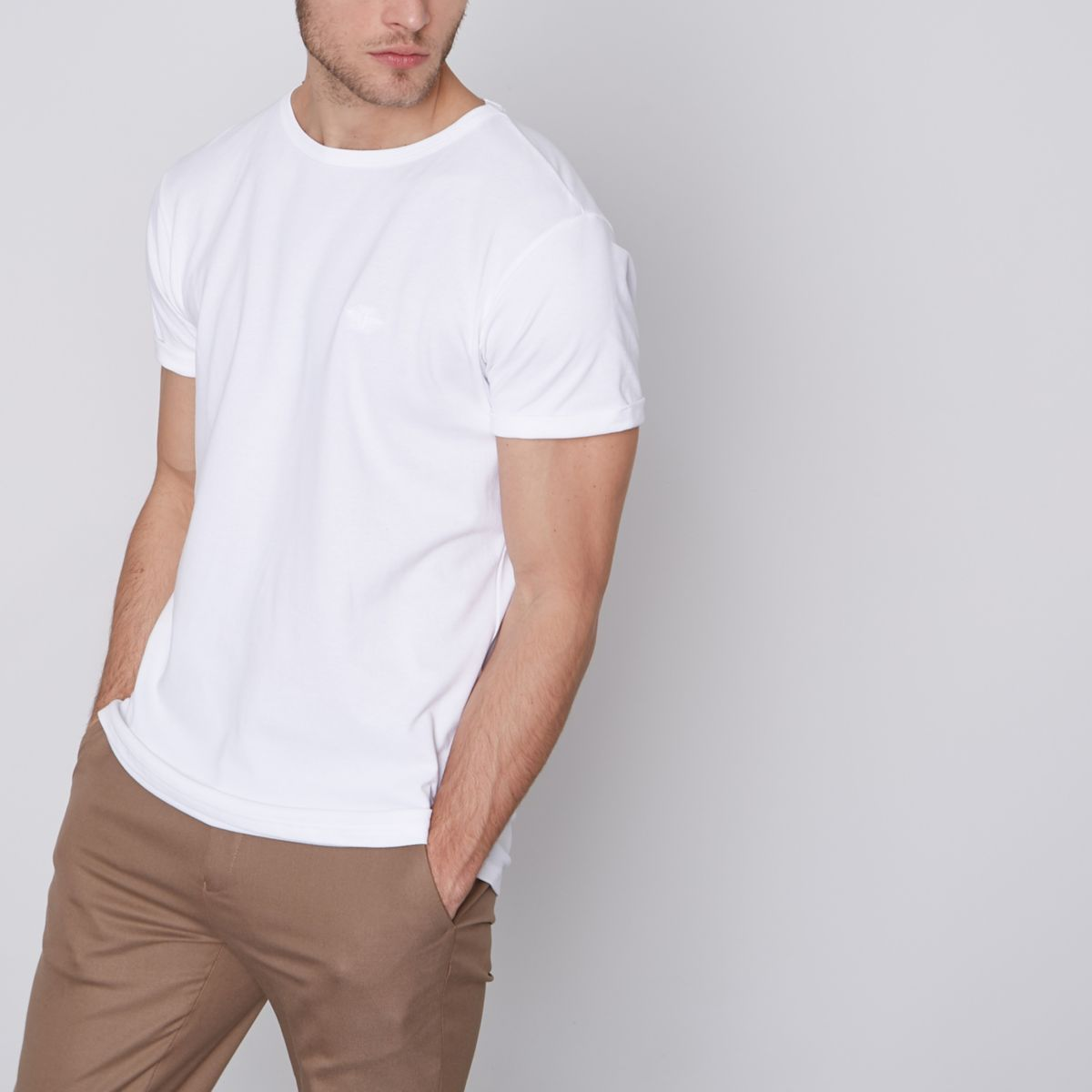 White pique crew neck rolled sleeve T-shirt