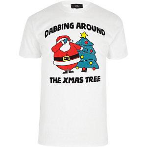 Wit T-shirt voor de kerst met 'dabbing'-print