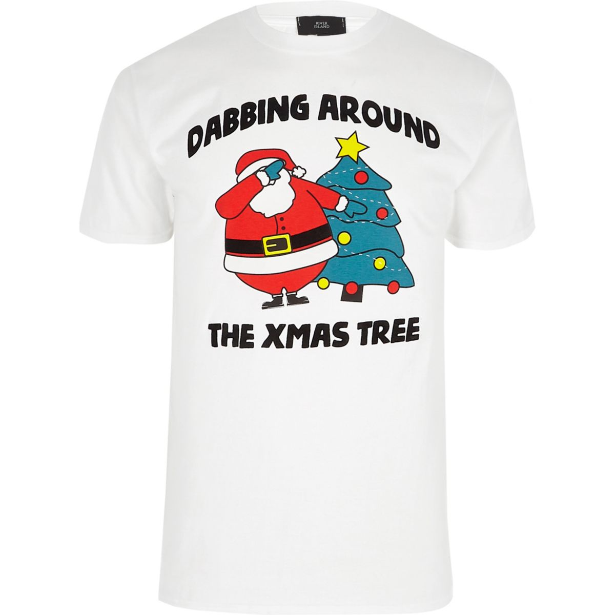 White 'dabbing' flocked Christmas T-shirt