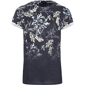T-shirt slim imprimé fleurs délavé bleu marine