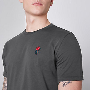 Donkergrijs slim-fit T-shirt met geborduurde roos