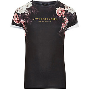 Marineblauw T-shirt met vervagende bloemenprint en 'New York'-print