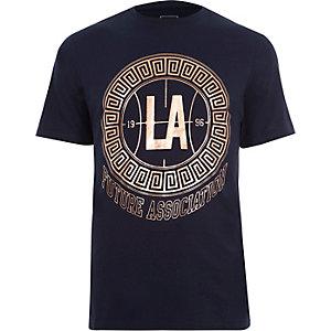 Navy 'LA' rose gold print slim fit T-shirt