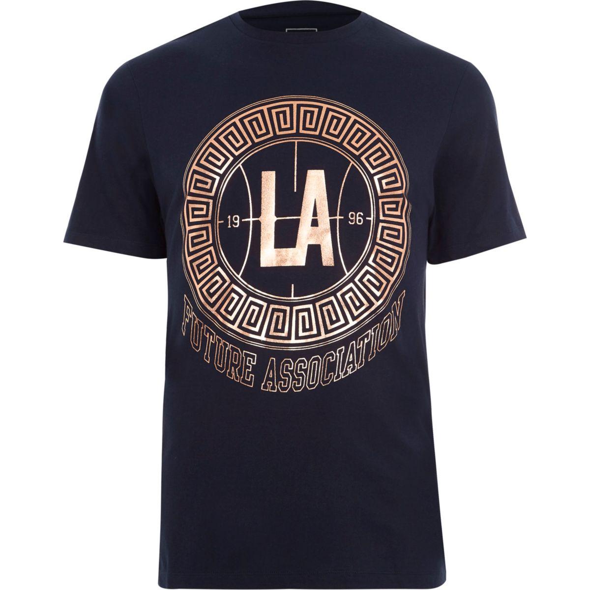 Marineblauw slim-fit T-shirt met roségoudkleurige 'LA'-print