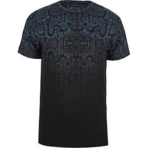 T-shirt slim imprimé serpent bleu marine