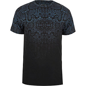 Marineblauw slim-fit T-shirt met slangenprint