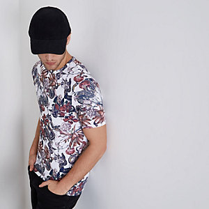 White floral snake print muscle fit T-shirt