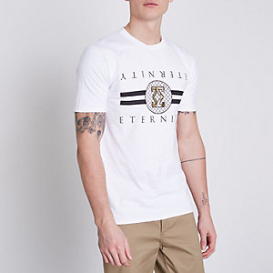 Wit slim-fit T-shirt met 'eternity'-folieprint