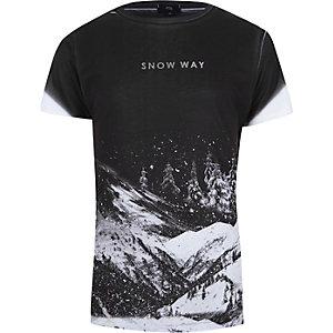 T-shirt slim imprimé «snow way» délavé noir