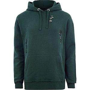 Donkergroene ripped oversized hoodie