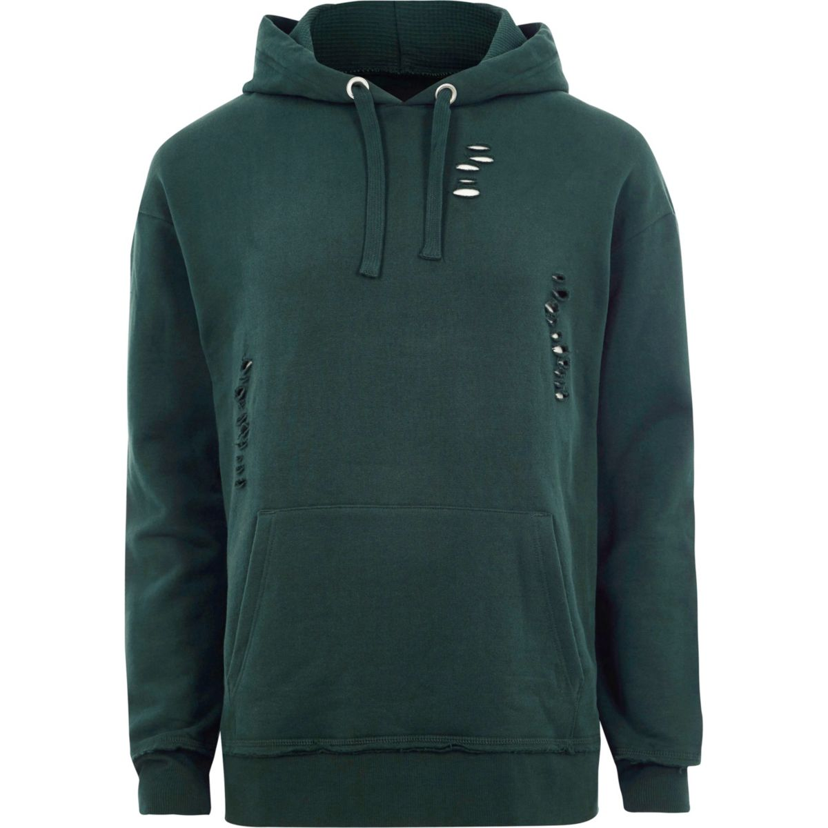 Dark green ripped oversized hoodie