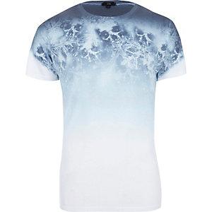 Wit gevlekt T-shirt met doodshoofdprint en kleurverloop
