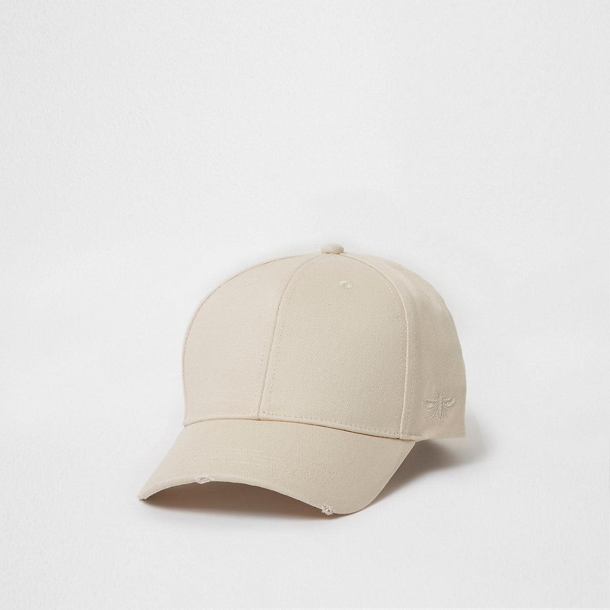 Cream wasp embroidered baseball cap