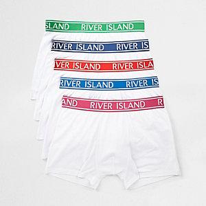 Multipack witte strakke boxers met gekleurde tailleband met RI-logo