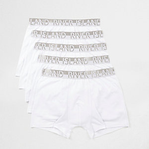 Multipack witte strakke boxers met RI-logo op de tailleband