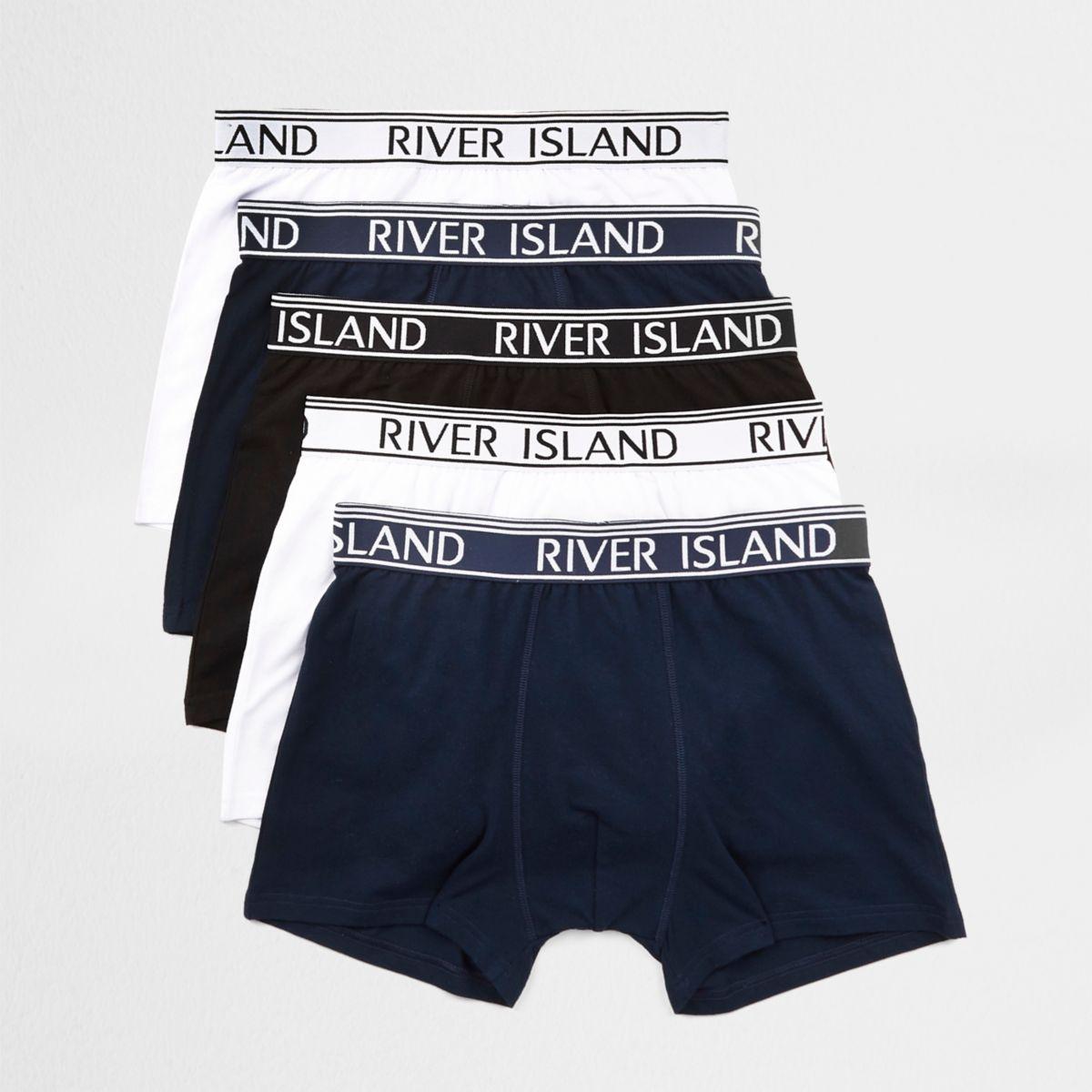 Mens Navy RI branded waistband trunks multipack River Island
