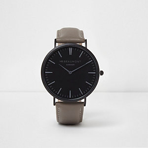 Grey and black Mr Beaumont round face watch