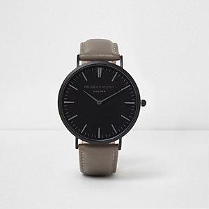 Mr Beaumont - Grijs en zwart horloge met ronde wijzerplaat