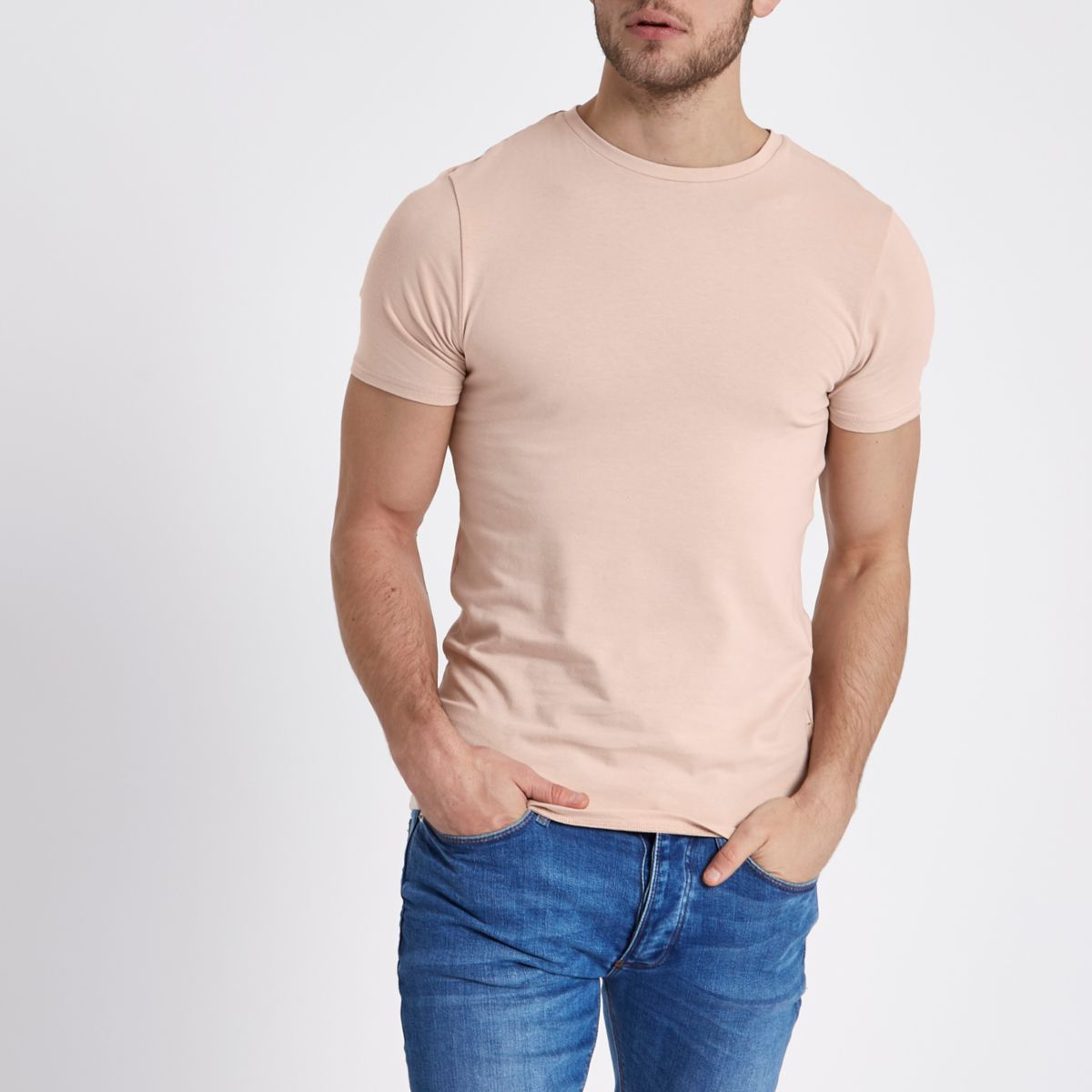 Cream muscle fit crew neck T-shirt