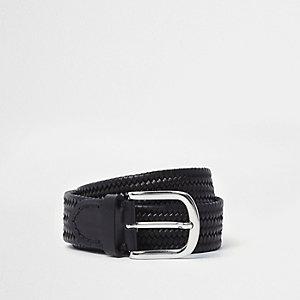 Schwarzer, gewebter Ledergürtel
