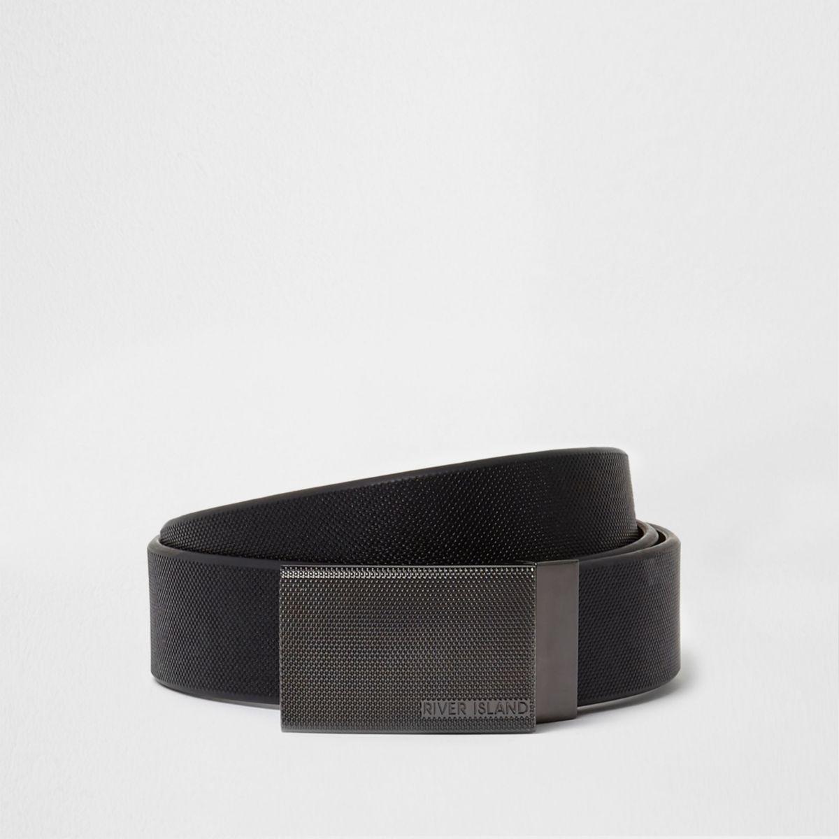 Black reversible plate buckle belt