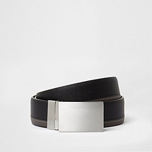 Black two tone plate buckle belt