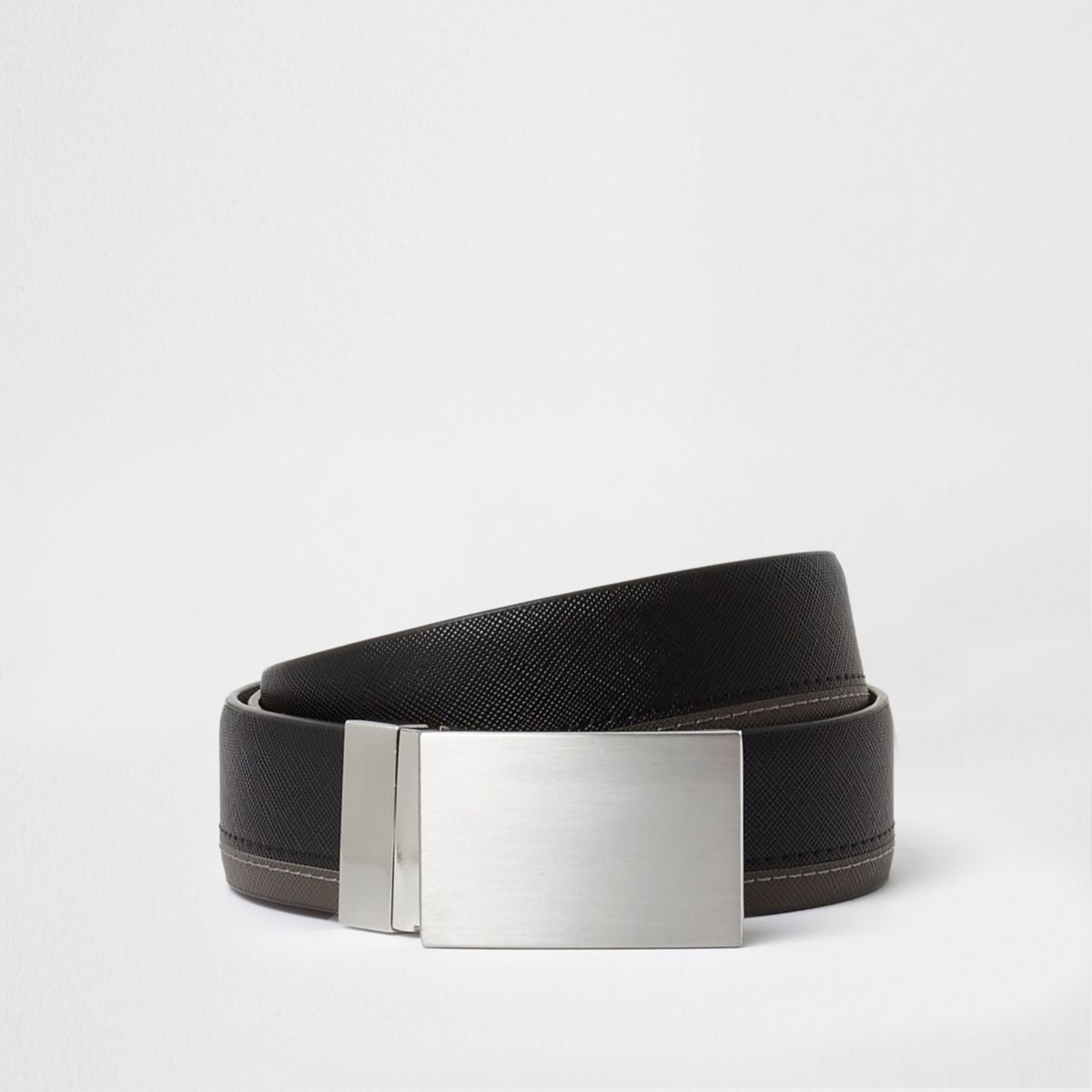 Black reversible two tone plate buckle belt