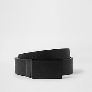 Black reversible plate buckle belt