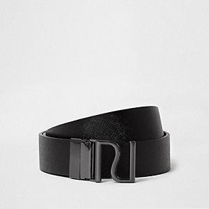 Zwarte aan twee zijden draagbare riem met RI-gesp