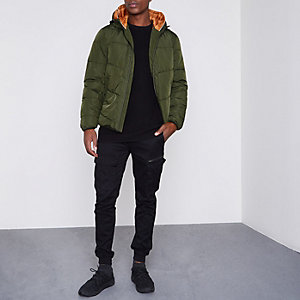 Green Jack & Jones hooded puffer jacket