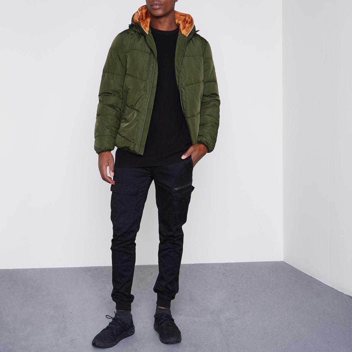Jack & Jones green hooded puffer jacket