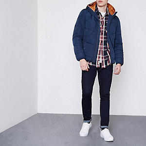Jack & Jones – Marineblaue, wattierte Kapuzenjacke
