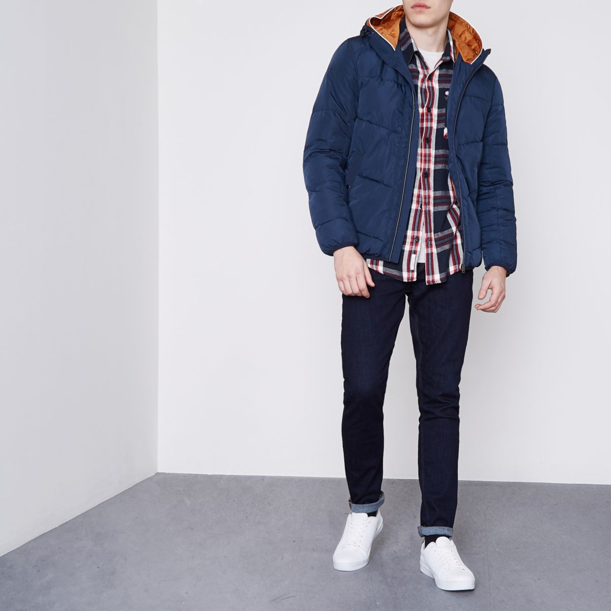 Navy Jack & Jones hooded puffer jacket