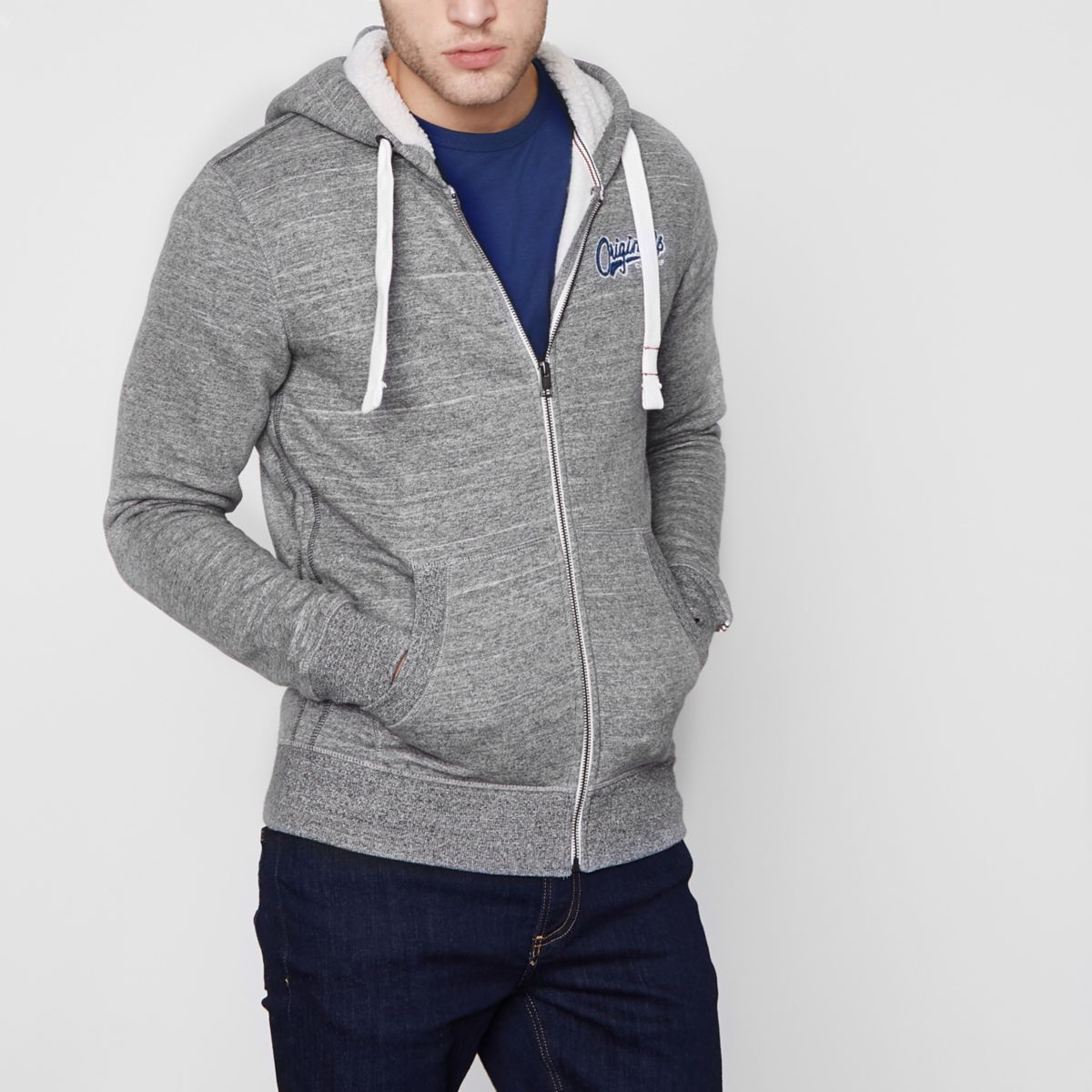 Grey Jack & Jones 'originals' zip-up hoodIe