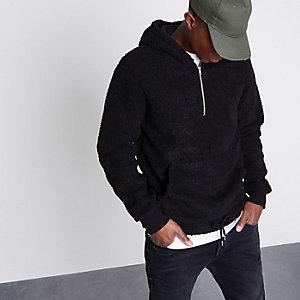 Jack & Jones - Zwarte hoodie met rits en borgvoering
