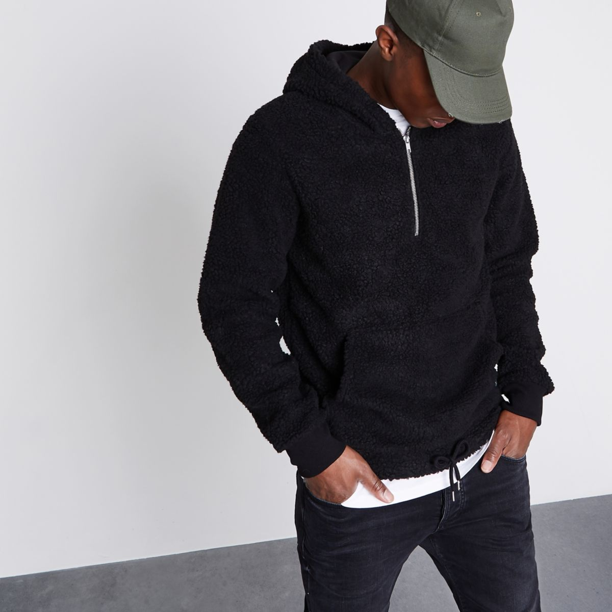 Jack & Jones black borg zip hoodie