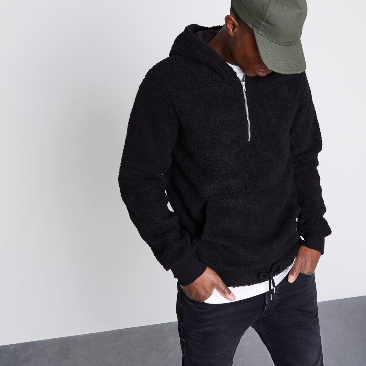 Jack & Jones black fleece zip hoodie