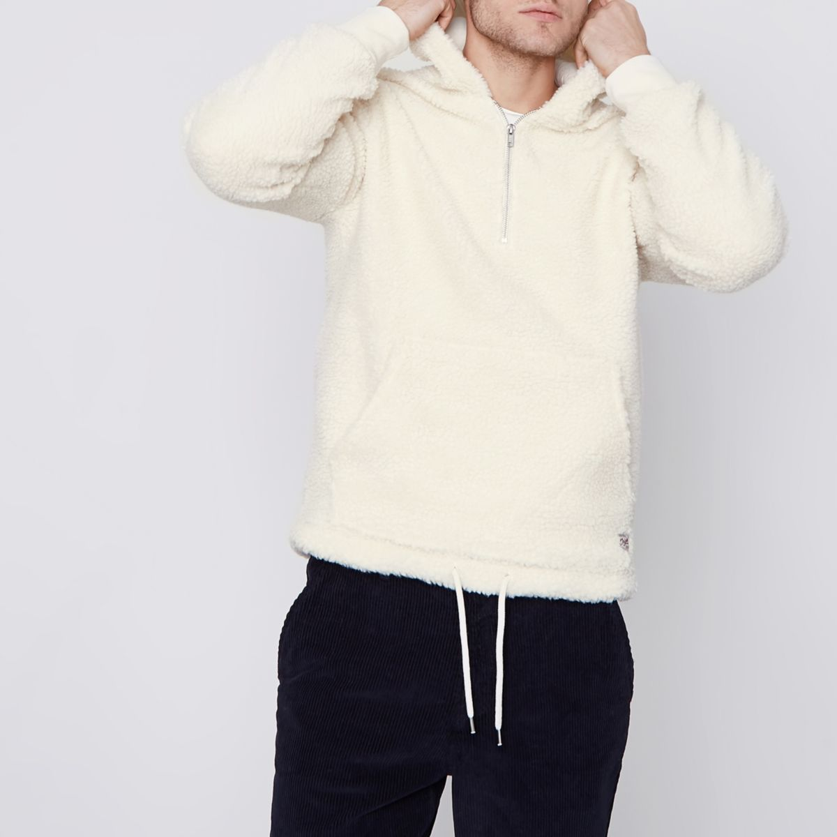 Jack & Jones white borg hoodie