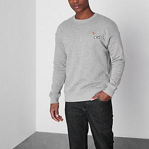 Jack & Jones – Grau meliertes Sweatshirt
