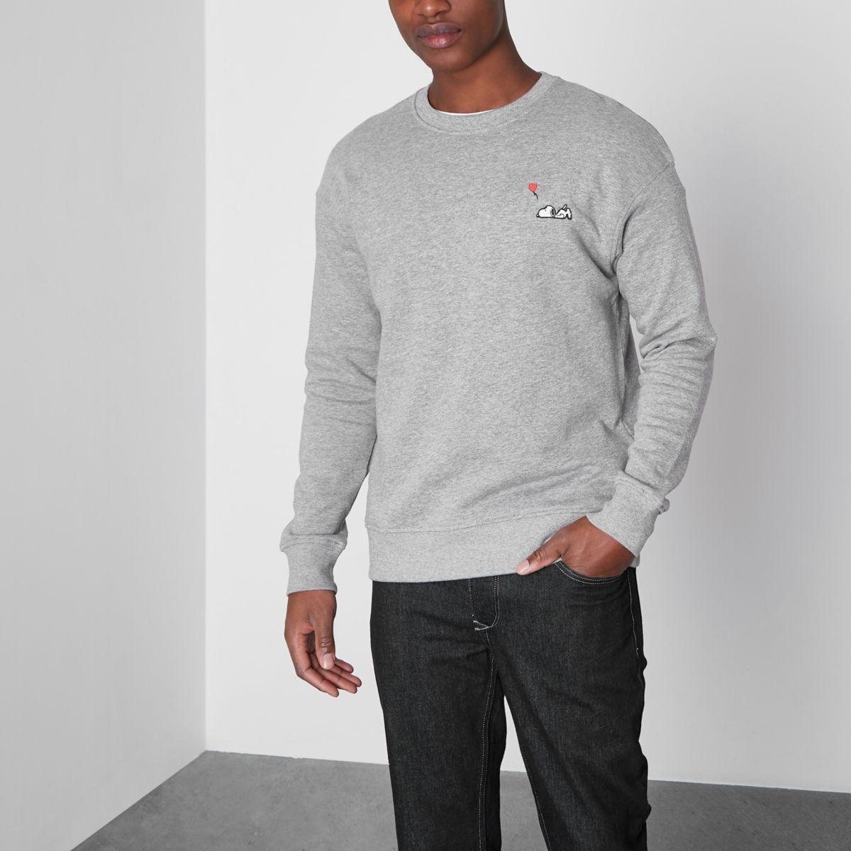 Grey marl Jack & Jones Snoopy sweatshirt