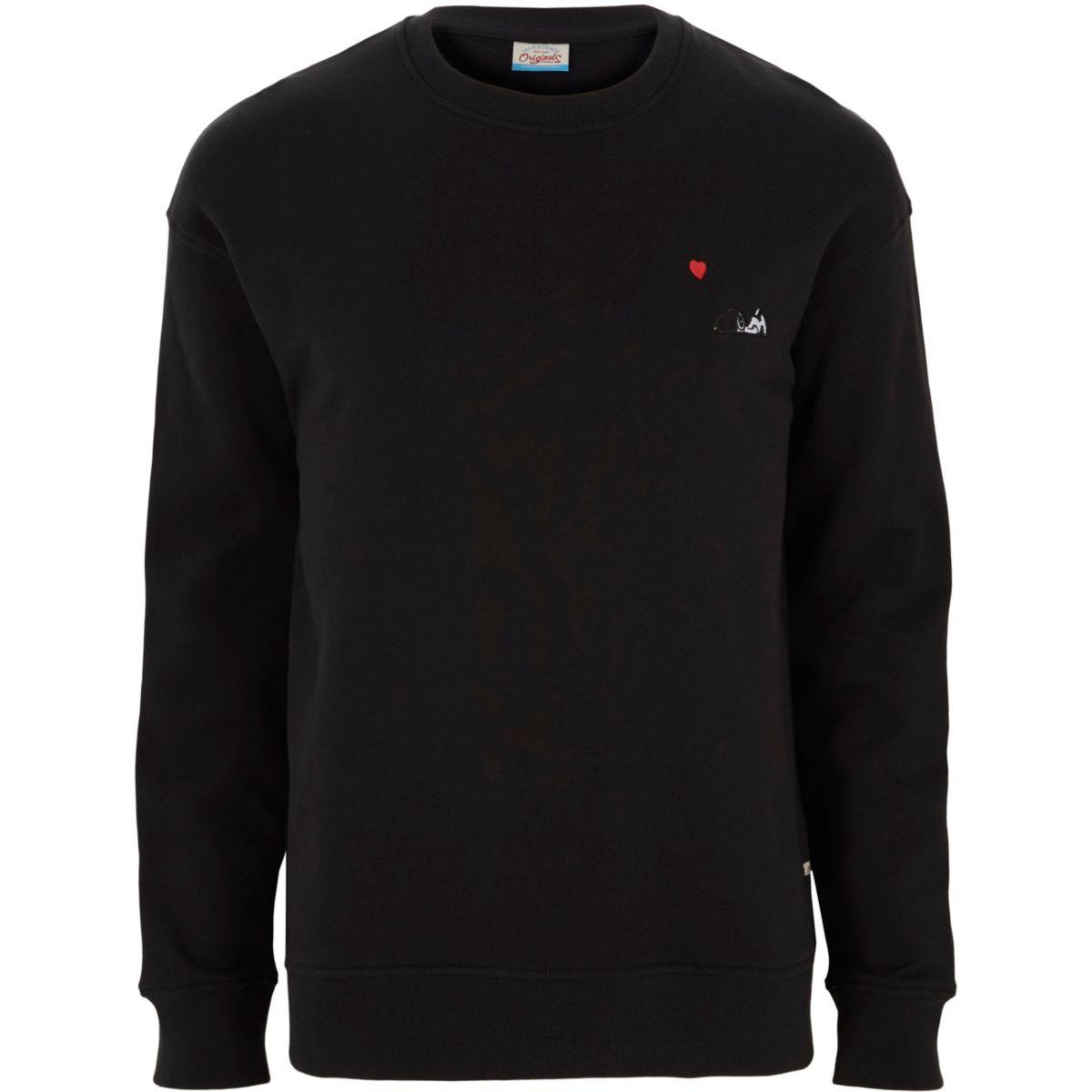 Jack & Jones - Zwart Snoopy-sweatshirt