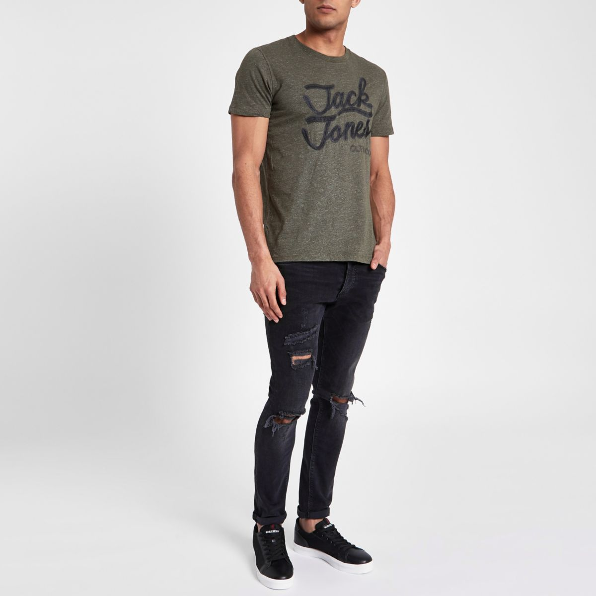 Jack & Jones Originals green broderie T-shirt