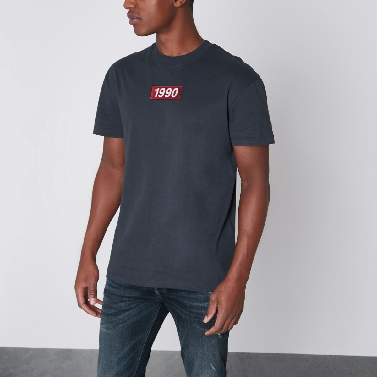 Jack & Jones navy '1990' embroidered T-shirt