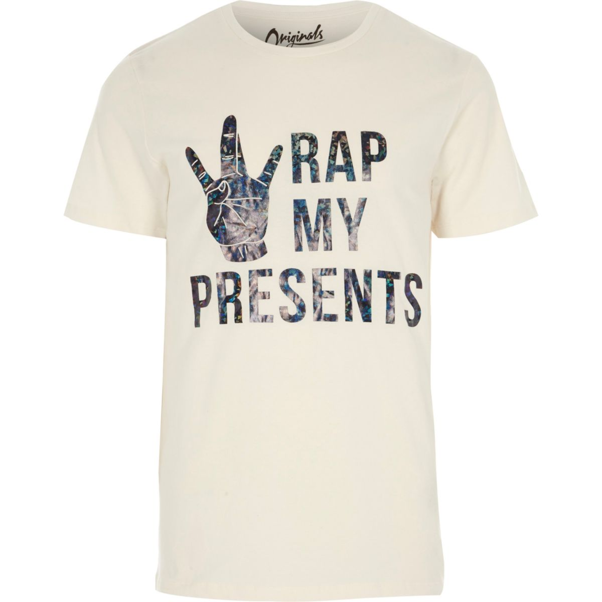 White Jack & Jones 'presents' print T-shirt