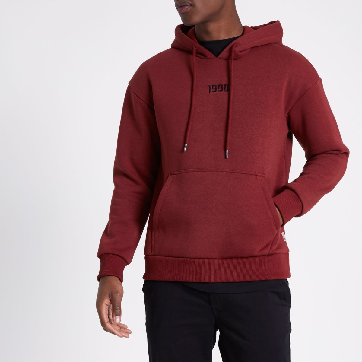River Island Mens Jack and Jones Red 1990 embroidery hoodie Jack & Jones